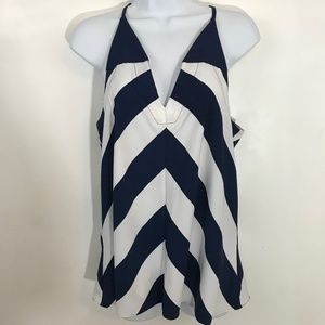 White and Navy Blue striped tank top blouse